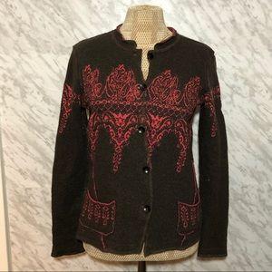 Free People Wool Cotton Cardigan Sweater Brown